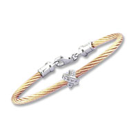 Children's 5 Inch Rose Stainless Steel Diamond X Bracelet