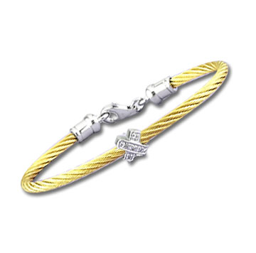 Children's 5 Inch Yellow Stainless Steel Diamond X Bracelet