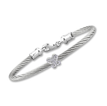 Children's 5 Inch Stainless Steel Diamond Butterfly Bracelet