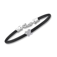 Children's 5 Inch Black Stainless Steel Diamond Butterfly Bracelet