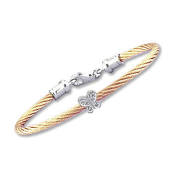 Children's 5 Inch Rose Stainless Steel Diamond Butterfly Bracelet