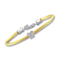 Children's 5 Inch Yellow Stainless Steel Diamond Butterfly Bracelet