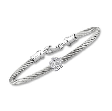 Children's 5 Inch Stainless Steel Diamond Flower Bracelet