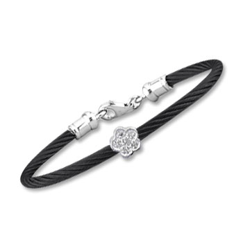 Children's 5 Inch Black Stainless Steel Diamond Flower Bracelet