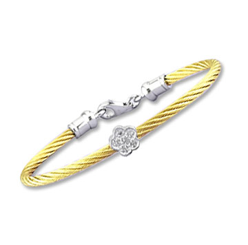 Children's 5 Inch Yellow Stainless Steel Diamond Flower Bracelet