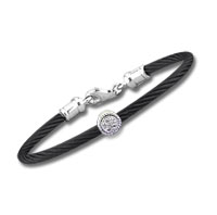 Children's 5 Inch Black Stainless Steel Diamond Disk Bracelet
