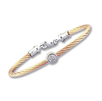 Children's 5 Inch Rose Stainless Steel Diamond Disk Bracelet