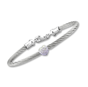 Children's 5 Inch Stainless Steel Diamond Heart Bracelet