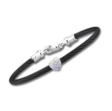 Children's 5 Inch Black Stainless Steel Diamond Heart Bracelet