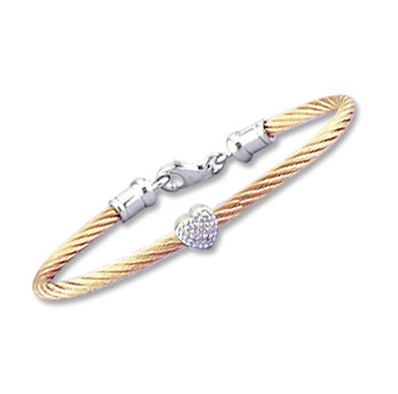Children's 5 Inch Rose Stainless Steel Diamond Heart Bracelet