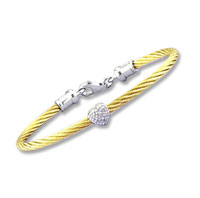 Children's 5 Inch Yellow Stainless Steel Diamond Heart Bracelet
