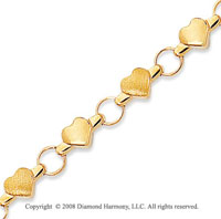14k Yellow Gold Hearts Children's Bracelet