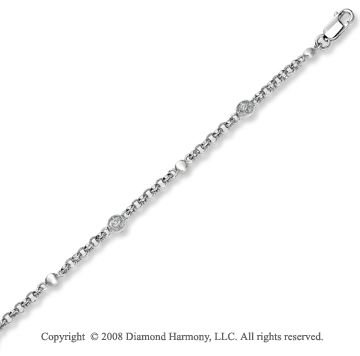 14k White Gold Delicately Set Diamond Baby Bracelet