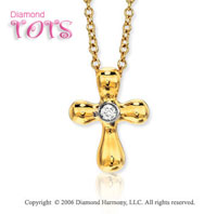 14k Gold Diamond Centerstone Cross Children's Pendant
