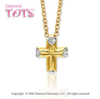 14k Yellow Gold Diamond Heart Cross Children's Pendant