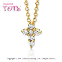 14k Yellow Gold Cross of Diamonds Children's Pendant