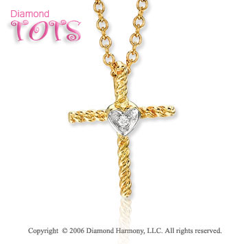 14k Gold Diamond Heart Rope Cross Children's Pendant