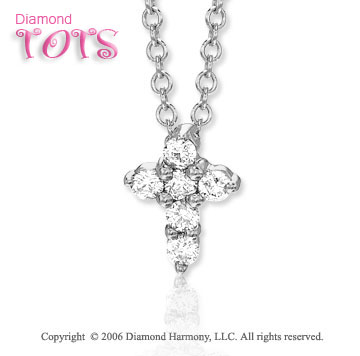 14k White Gold Cross of Diamonds Children's Pendant