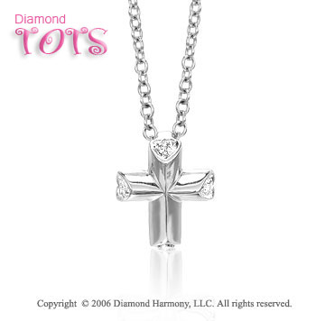 14k White Gold Heart Diamond Cross Children's Pendant