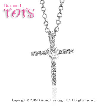 14k White Gold Diamond Heart Cross Children's Pendant