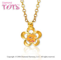 14k Yellow Gold Citrine Flower Children's Charm Pendant