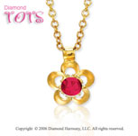 14k Yellow Gold Garnet Flower Children's Charm Pendant