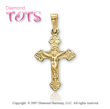 14k Yellow Gold Loving Jesus Traditional Children's Cross
