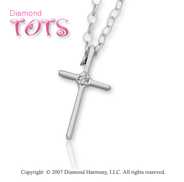14k White Gold Divine Devotion Classic Children's Cross