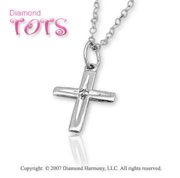 14k White Gold Classic Faith Diamond Children's Cross