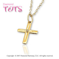 14k Yellow Gold Classic Faith Diamond Children's Cross