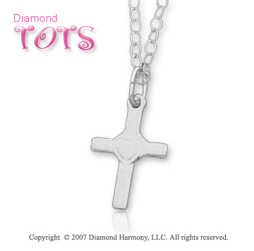 14k White Gold Sleek Gentle Heart Children's Cross