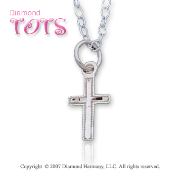 14k White Gold Vintage Style Glorious Children's Cross
