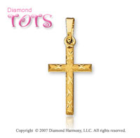14k Yellow Gold Stylish Traditional Children's Cross