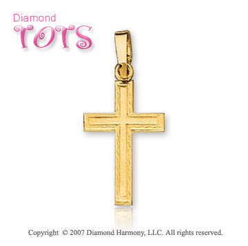 14k Yellow Gold Blessed Traditional Children's Cross