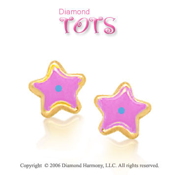14k Yellow Gold Pink Enamel w Blue Dot Star Children's Earrings