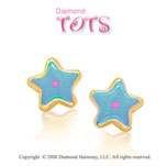 14k Yellow Gold Blue Enamel w Pink Dot Star Children's Earrings