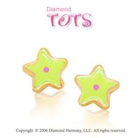 14k Yellow Gold Yellow Enamel w Pink Dot Star Children's Earrings