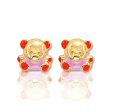 18k Yellow Gold Enamel Teddy Bears Children's Earrings