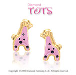 14k Yellow Gold Pink Enamel Giraffe Children's Earrings