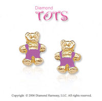 18k Yellow Gold Pink Enamel Teddy Children's Earrings