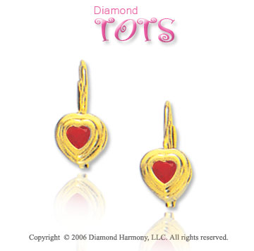 14k Yellow Gold Bezel Garnet Heart Children's Earrings
