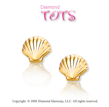 14k Yellow Gold Scalloped Seashell Children's Earrings