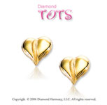 14k Yellow Gold Queen of Hearts Children 's Earrings