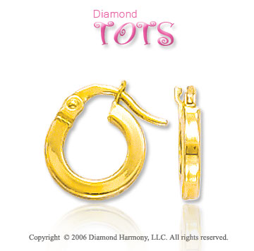 14k Yellow Gold 2mm Huggie Hoops Children's Earrings