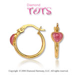 14k Yellow Gold Rose Enamel Heart Children's Earrings