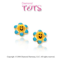 14k Yellow Gold Enamel Flowers Children's Earrings
