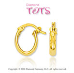 14k Yellow Gold Oval Huggie Hoops Children's Earrings