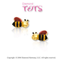 14k Yellow Gold Enamel Red Bees Children's Earrings