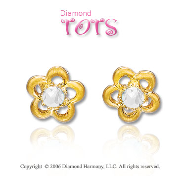 14k Yellow Gold Cubic Z Flower Children's Earrings