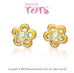 14k Yellow Gold Peridot Flower Children's Earrings